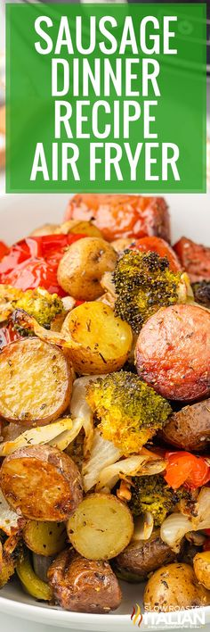 This sausage dinner recipe features bell peppers and broccoli for a well-rounded meal. Prep it in minutes and let the air fryer do the rest! Cooker Recipes, Crockpot Recipes, Chef Recipes, Sausage And Peppers, Stuffed Peppers, Sausage Recipes For Dinner, Slow Cooker Casserole, The Slow Roasted Italian, Air Fryer Recipes