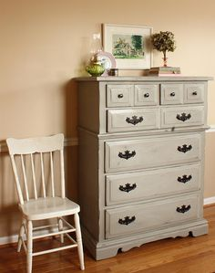 French Linen dresser with oil rubbed bronze hardware