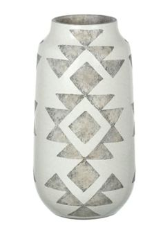 This vase has a lovely aztec print on a crackle effect base.