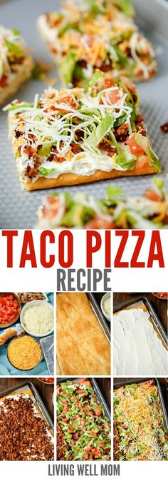 This easy taco pizza is made with a crescent roll crust and a tasty hit with the whole family. With simple ingredients, you can whip up this filling meal in under 30 minutes! # easy meals for family The Best Easy Taco Pizza Recipe - Living Well Mom Taco Pizza Recipes, Mexican Food Recipes, Beef Recipes, Cooking Recipes, Healthy Recipes, Pillsbury Pizza Crust Recipes, Taco Pizza Recipe Crescent Rolls, Easy Cooking, Taco Pizza Rolls