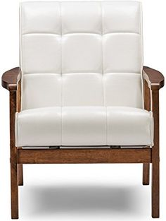 Baxton Studio Mid-Century Masterpieces Club Chair, White ❤ Wholesale Interiors., Inc