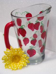 Hand Painted Strawberry Pitcher 60oz. $30.00 at lilyshop.com/store/kstarr22