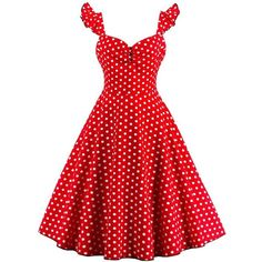 Polka Dot Buttoned Pin Up Rockabilly Swing Dress ($20) ❤ liked on Polyvore featuring dresses, trapeze dresses, rockabilly dresses, red dress, swing dresses and rockabilly swing dress