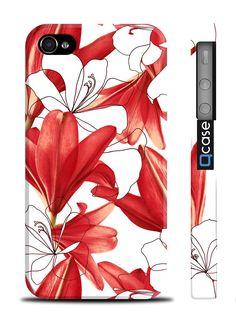 Чехол QCase для iPhone 4 | 4S Flowers Red (пластиковый чехол, защитная пленка, заставка) купить в интернет-магазине BeautyApple.ru.
