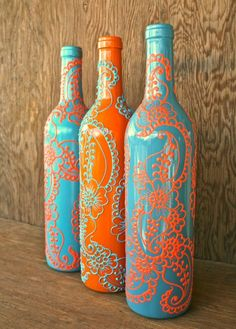 Painted wine bottles #diy #beautifulswitch by clare