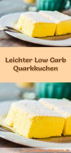 Rezept für einen leichten Low Carb Quarkkuchen: Der kohlenhydratarme Kuchen wird ohne Zucker und Getreidemehl gebacken. Er ist kalorienreduziert, enthält viel Eiweiß ...