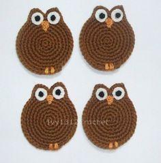 Crochet Owl Coasters by Ivy1312Crochet