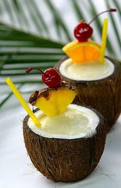 Pina Colada in a coconut