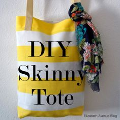 Elizabeth Ave: DIY Skinny Tote | This tutorial teaches you how to create a simple tote bag. Sew this up in just 20 minutes or so and you'll be on your way! This little canvas tote is the perfect library bag, picnic tote, or beach bag and would be an excellent gift! So don't waste a minute, go sew one (or five) today. | www.elizabethave.com
