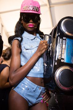 We went backstage at Moschino's #SS15 #MFW show.