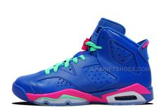 more photos d4fdc e2329 Girls Air Jordan 6 Retro GS Game Royal White-Vivid Pink-Light Lucid Green