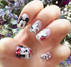 Pin by Heidi Wheeler on Hair in 2019 Square Nail Designs, Acrylic Nail Designs, Nail Art Designs, Minnie Mouse Nails, Mickey Mouse Nails, Disney Acrylic Nails, Pink Acrylic Nails, Trendy Nails, Cute Nails