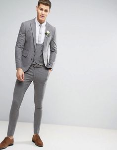 Super Skinny Suit in Mini Check In Grey