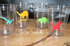 24 Dinosaur Party 10 oz. 12 oz. or 16 oz. Cups. Prehistoric party, long neck, t-rex, boy birthday, the land before time, Dinosaurs. C-59