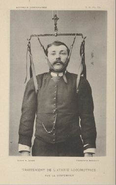Some cabinet card back from (1889) the ways of correcting your posture. A French piece.
