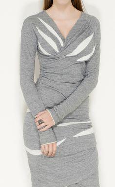 Grey and White Wrap Dress