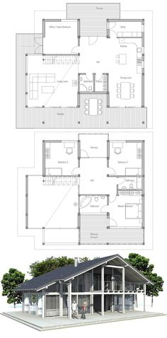 Floor Plan with a chalet feel #homeplans
