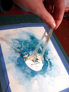 Cool!  Tutorial to make a watercolor portrait!  Use a digital photograph, a window and art masking fluid.