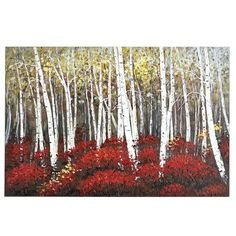 Slender white birches stand in vivid contrast to clusters of brilliant red blooms. Rich in detail and bold saturated color, this unique, hand-painted acrylic reproduction makes a strong statement. Is it speaking to you? Unique Wall Art, Unique Home Decor, Birch Tree Art, Oversized Wall Art, Garden Wall Art, Metal Tree Wall Art, Photoshop, Saturated Color, Arts And Crafts