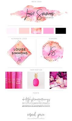 Branding Package - Photography Logo Makeup Artist Logo - Orange Pink Watercolor…