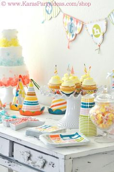 Happy Birthday Patterned Party via Kara's Party Ideas - www.KarasPartyIdeas.com. All supplies are super inexpensive and available in the KPI shop!