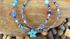 2 Blue beach anklets in ocean colors with a by GardenOfElsie