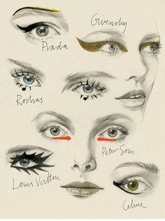 Runway make-up illustrations. #intentjewellery