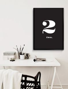 Number Two Typography Print Sign - Home Decor Typography Poster Nordic Design - Black and White Minimal Wall Art - Instant Download