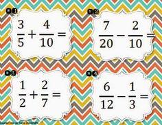 Additions et soustractions de fractions Addition Of Fractions, Math Fractions, 5th Grade Math, Sixth Grade, Cycle 3, Tour Eiffel, Teaching Math, Lana, Homeschool