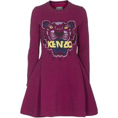 KENZO Tiger Roaring Long Purple Embroidered sweater dress (1.095 BRL) ❤ liked on Polyvore featuring dresses, vestidos, ribbed sweater dress, ribbed dress, circle skirts, embroidery dress and flared skirt