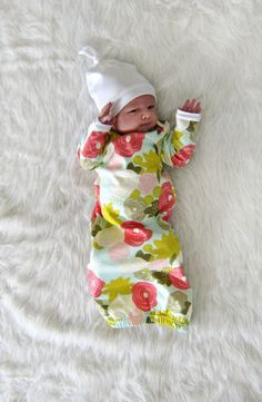 Newborn Gown Baby Girl Coming Home Outfit by brambleandbough