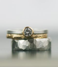 moissanite and gold wedding band set  matching engagment by lolide, $695.00