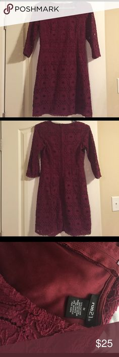 Rue 21 dress Really pretty lace maroon dress. Only worn once! Rue 21 Dresses Long Sleeve
