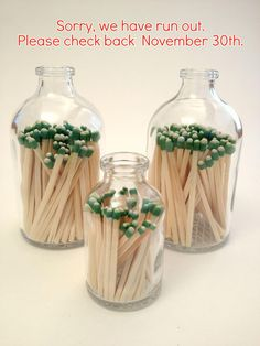 """Apothecary Matchstick Bottle  Reclaimed apothecary matchstick bottle with strike on bottom. Beautifully crafted, this bottle adds graceful detail to any home.    Available in large  3 3/4"""" and and small 2 1/2"""".  Matches included. By Jen Pearson    Why we ♥ it: It's super cute and useful."""
