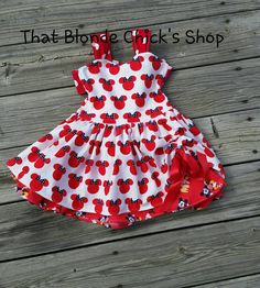Minnie and Mickey Peek-A-Boo Dress by ThatBlondeChicksShop on Etsy Minnie #MinnieDress #Minnie #PeekABooDress