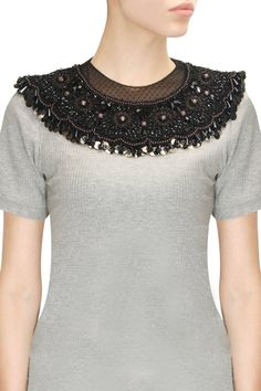 Black net embroidered crystal neckpiece available only at Pernia's Pop-Up Shop.