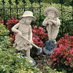 "Young Gardeners Sculptures - Rebecca and Samuel (Set). A member of our staff chuckled about this pair, ""As usual, the girl is getting something done and the boy is sleeping on the job!"" You can put them both to work as creative garden art, cast in designer resin exclusively for Toscano. #gardening #gardendecor #statues #children"
