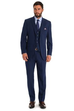 Moss Esq. is about being on the move, it's about smart work wear, simplicity and value. This Moss Esq. regular fit bright blue suit is single breasted with double vents. It has a notch lapel with a 2 button fastening. It has two outer pockets and an outer breast welt. The trousers are half lined to the knee and a matching waistcoat is available sold seperately.  This is one of our set suits where the accompanying trousers are already selected at 6 inches smaller then the chest size. For…