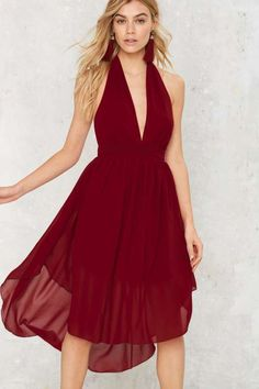 Nasty Gal Go With the Low Plunging Dress - Dresses : 12, L, XL