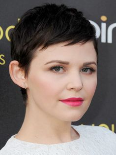 "Mini bangs make a pixie cut, like Ginnifer Goodwin's, appear ""more ingénue and gamine,"" says Garren. They also slim a round face and make a small forehead appear longer."