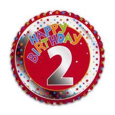 Happy Birthday 2 jaar folie ballon. Feestelijke ballon voor een 2e verjaardag. De ballon is rond en wordt gevuld met helium verstuurd. Ongeveer 45 cm groot.