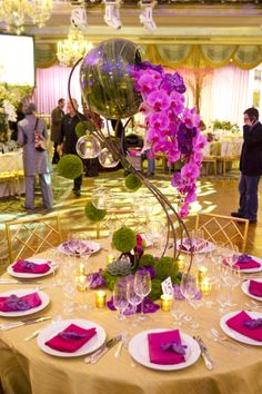 Our centerpiece with the grasses in the bowl and the cascading of gorgeous Phalaenopsis orchids
