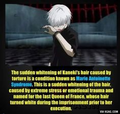 Kaneki's Hair -- I wondered why that just suddenly happened.. I thought that it was a way of showing that he had changed, but I guess there is a scientific explanation!