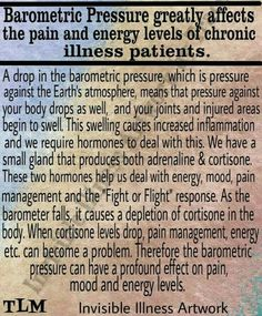 Barometric Pressure greatly affects the pain and energy levels in Fibromyalgia and Chronic Illness Patients. Chronic Migraines, Chronic Illness, Chronic Pain, Migraine Triggers, Fibromyalgia Pain, Trigeminal Neuralgia, Ankylosing Spondylitis, Hypermobility, Complex Regional Pain Syndrome