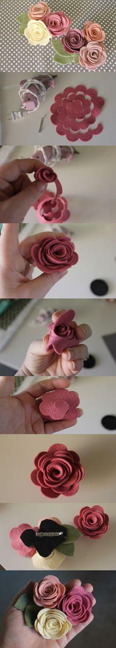 DIY Felt Roses- cute idea to use for curtain pulls in nursery