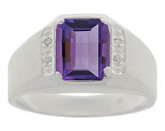 This amethyst stone ring for men is sure to impress. A 8 X 6MM barrel cut created amethyst gemstone (weighing approximately 2.1 carats) accented by 6 white round natural diamonds is flaunted in a prong setting. The ring is crafted in your choice of 10K, 14K or 18K solid yellow, rose, black or white gold, or sterling silver. Available in size 7 through 14, whole and half sizes (additional charges apply for sizes 12.5 through 14). All birthstone months are available for this style. This mens…