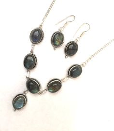"""Vintage Genuine Labradorite Gemstone 925 Sterling Silver 19""""Necklace Earrings Set Bridal Jewelry Mothers day Jewelry"""