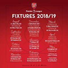 Arsenal Full 2018/19 Premier League Fixture Released