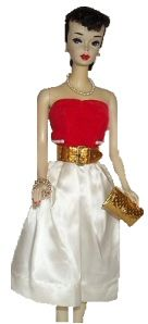 Vintage Barbie Silken Flame #977 (1960-1961)    Red Velvet & White Satin Strapless Dress  Gold Dimple Belt  Gold Dimple Purse  Black Open Toe Heels    This is a great vintage ensemble, maybe this was Barbie's outfit for her Valentines Day Date! This outfit is fairly easy to find, the satin usually holds up well and is quite beautiful. It can be a challenge to find the belt without creases or peeling gold.    This ensemble is often seen with the Red Flare red velvet swing coat and pillbox…