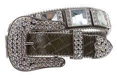 Western Cowgirl Alligator Rhinestone Croco Print Leather Belt Size: S/M - 31 Color: Olive Made by #beltiscool Color #Olive. Big rhinestone ornaments. 3 sets western style sparkling rhinestone buckle.. Alligator texture. 1 1/2'' wide. Heavy and sturdy